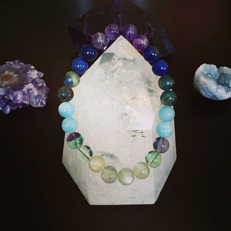 Have you seen our Intuition necklace?  How about our intuition bracelet??? Well this is it and frankly it's one of my faves.  Effects: aids in self-awareness; promotes logical thinking; opens the channels to psychic abilities; amplifies energy fields  Gemstones: Dogtooth Amethyst, Aquamarine, Fluorite, Moonstone, Sunstone, Lapis Lazuli, Kyanite