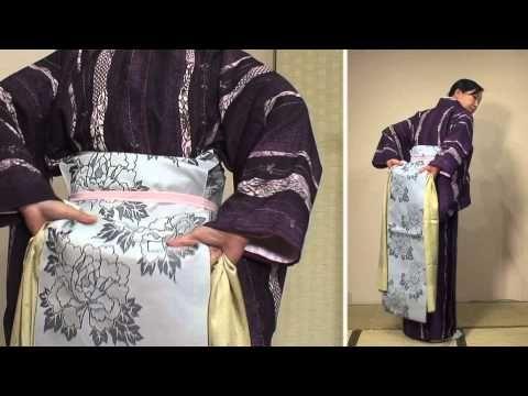【きもの京小町】きもの初心者の方におすすめ♪着物着付けお稽古『 名古屋帯の結び方』 - YouTube