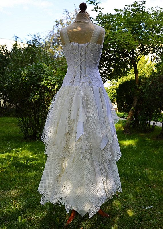 Upcycled Wedding Dress Fairy Tattered Romantic Dress by cutrag