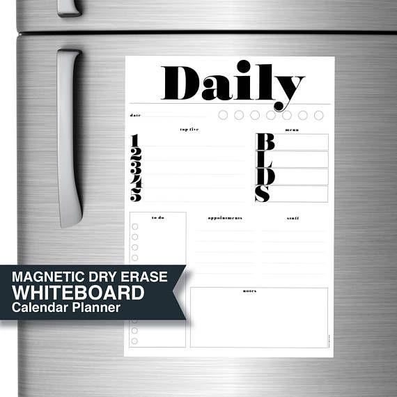 Fridge Magnetic Planner Daily Black White Dry Erase