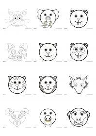 14 masques d'animaux à peindre ou à colorier, à utiliser pour carnaval ou dans le cadre d'un projet.