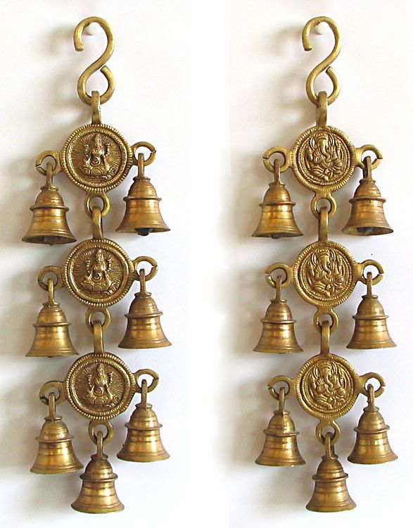 Bell with Lakshmi and Ganesha - Wall Hanging - Brass