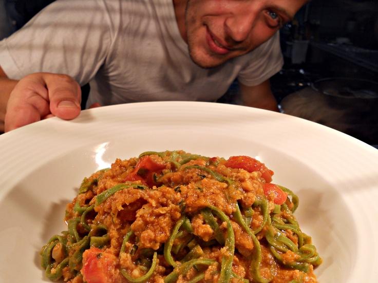 Tagliolini with salsiccia, zucchini and cherry tomatoes