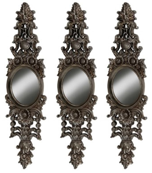 Set of 3 ornate antique mirrors finished in stunning silver with ornate detailing