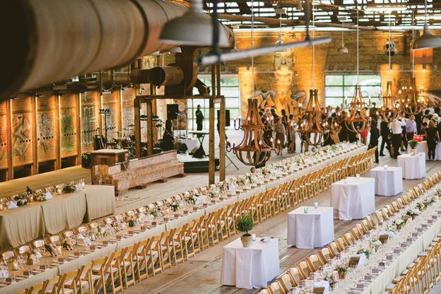 Long Harvest Tables for a wedding at Evergreen Brick Works