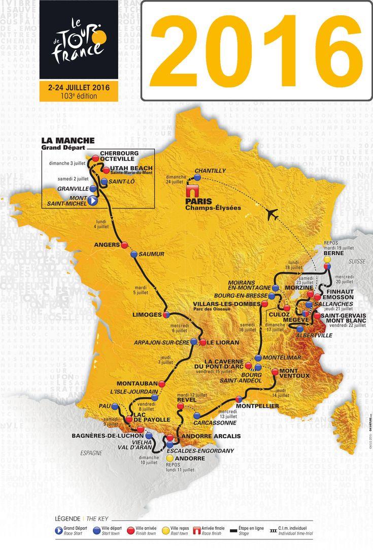 La carte des étapes du Tour de France 2016