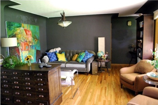 Paint Color Portfolio: Charcoal Living Rooms | Apartment Therapy