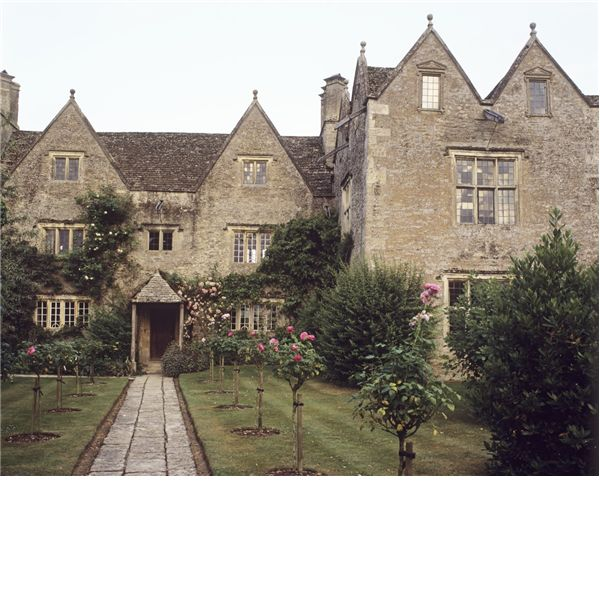 In 1869, Morris & Rossetti rented a country house, Kelmscott Manor at Kelmscott, Oxfordshire by the Thames River, as a summer retreat. Kelmscott Manor was an important retreat & symbol of simple country life for Morris in later years. Pictured: The main entrance of the tudor 16th century wing of Kelmscott Manor with the 17th century wing on the right.