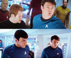 Star Trek 2009 (Tumblr): Kirk and McCoy, Spock and McCoy, displaying two separate varieties of McCoy cantankerousness. Which makes me very happy. :-)