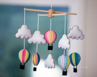 Aire caliente globo móvil-niña bebé móvil móvil por thepoppettree