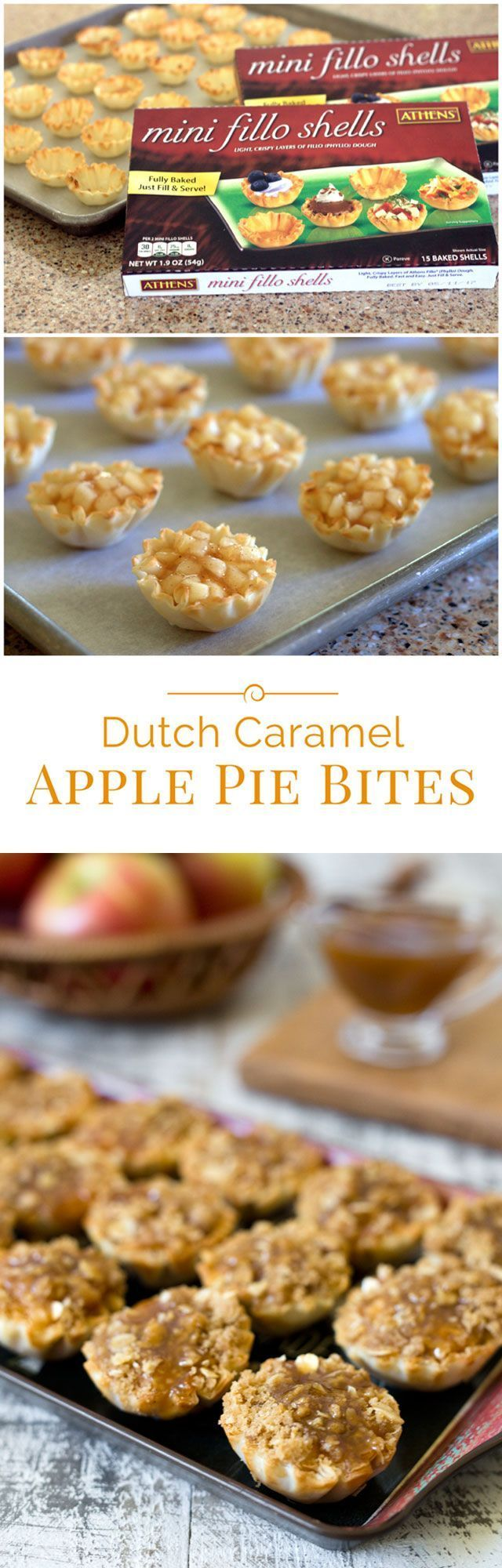 These Dutch Caramel Apple Pie Bites are a fun, bite-size version of a Dutch apple pie in a flaky, ready-made mini shell with a caramel drizzle on top.