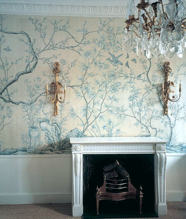via Laurel Bern blog.  Beautiful wallpaper, fireplace surround and lighting fixtures