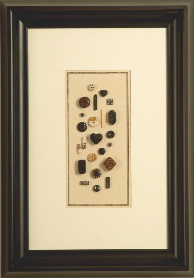 This collection of buttons looks fabulous framed in an elegant shadowbox. The same type of framing can be done with coins, stamps, matchbooks and many other things. #Customframing protects, preserves and presents your special treasures.