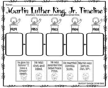 Martin Luther King Jr. Timeline Cut and Paste FREEBIE!I am pleased to offer this cut and paste activity to you for FREE!This would be great review after your study of Martin Luther King, Jr.  You can use this for centers, seat work, or early finishers.You might be interest in:PRESIDENTS DAY MATH AND LITERACY PRINTABLESPRESIDENTS DAY CENTER (ADJECTIVE OR VERB?)PRESIDENTS DAY NOUNS CENTERI am pleased to offer this cut and paste activity to you for FREE!This would be great review after your ...