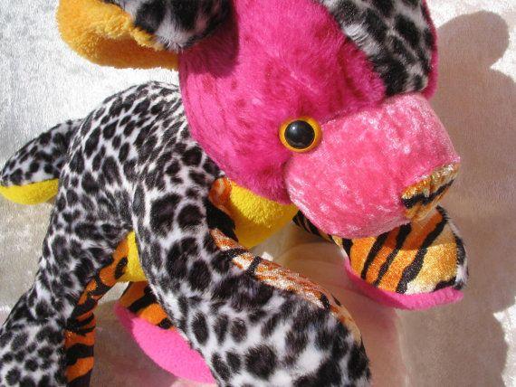 Wild Berries TEDDY BABY pink fuchsia orange handmade stuffed plush leopard bear soft toy or home decor by TALLhappyCOLORS.Etsy.com