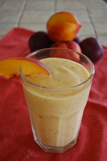 Fresh Nectarine Smoothie  :   2 whole Nectarines, cut into chunks ½ cup Vanilla Soymilk 1 cup Plain Nonfat Greek Yogurt Ice cubes 1 cup Mango, fresh or frozen in chunks
