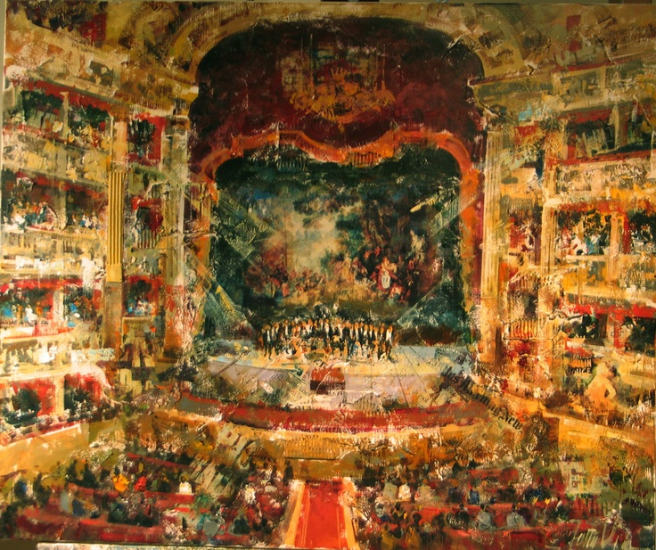 """Costa Vila, contemporary artist from Barcelona, """"Theatre.""""  Such a cool style, like a modern impressionism"""