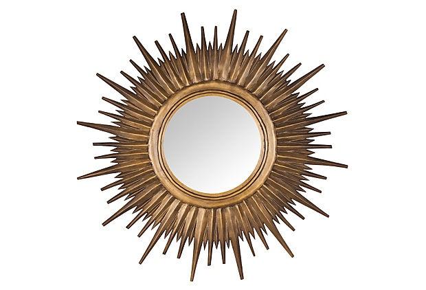 "Golden Sun Mirror. 36""oa diameter, ~18"" mirror diameter.  249usd on OneKingsLane.com"