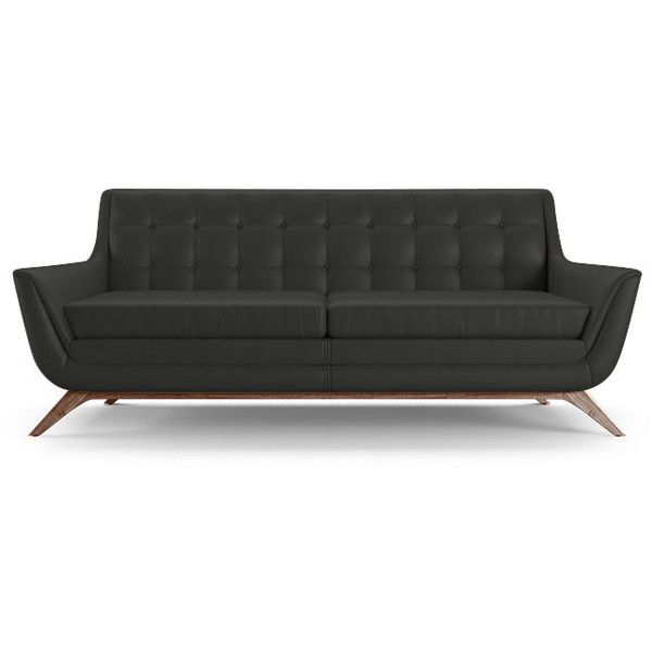 joybird aubrey mid century modern black leather loveseat cny liked on polyvore - Black Leather Loveseat