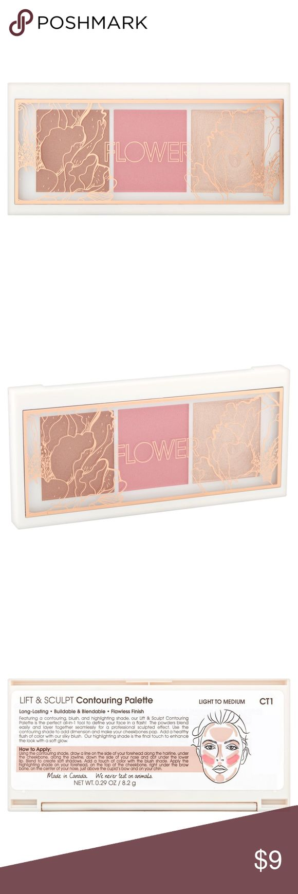 🌸NEW Flower Lift&Sculpt Contouring Palette (L-M) The 💡Light to 🕯Medium palette.🎨  BRAND NEW, never opened. From my smoke free home. Original Retail: $14  🌸💡ABOUT: Long-Lasting. Buildable & Blendable. Flawless Finish. Featuring a contouring blush and highlighting shade, our Lift & Sculpt Contouring Palette is the perfect all-in-1 tool to define your face in a flash! The powders blend easily and layer together seamlessly for a professional sculpted effect. Flower Beauty Makeup