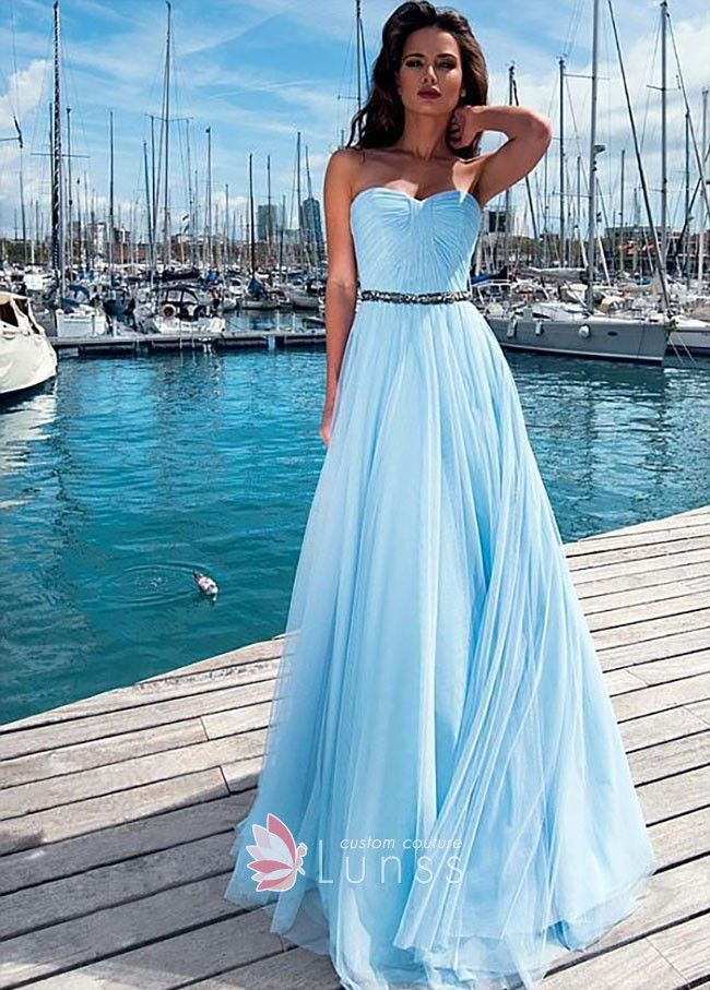 90bd3751142 Sky blue chiffon and tulle overlay A-line long prom dress. Pleated  strapless sweetheart bodice with beading belt.