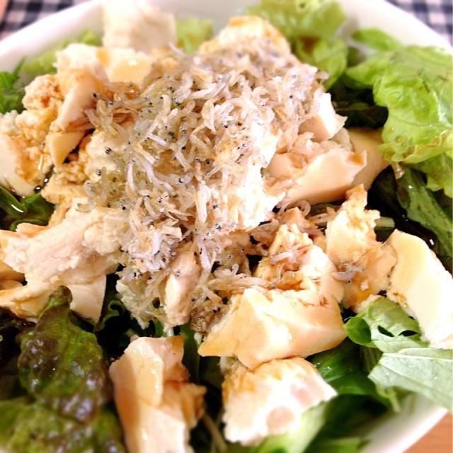 カリカリじゃこをかけて♡ - 2件のもぐもぐ - 豆腐と水菜のサラダ by kuroyuka0626