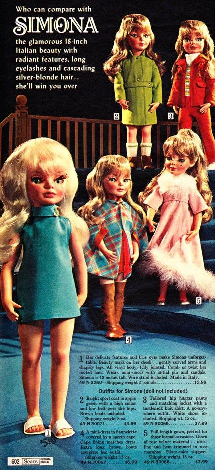 Loved this doll and her mod clothes. Furga Alta Moda Simona Doll From the 1968 Sears Wish-book