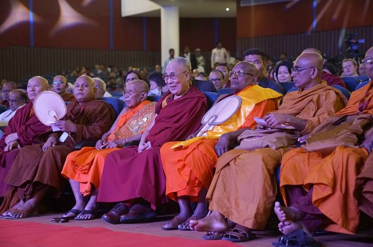 "His Holiness the Dalai Lama and Buddhist leaders during the inaugural session of the three-day International Buddhist Conference on ""The Relevance of Buddhism in the 21st Century"" organized by Nava Nalanda Mahavihara and the Ministry of Culture of the Government of India in Rajgir, Bihar, India on March 17, 2017. (Photo by Tenzin Choejor/OHHDL)"