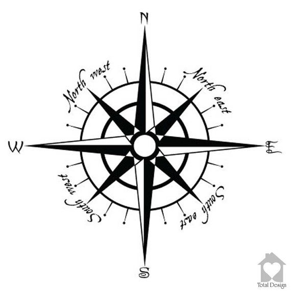 Compass Vinyl Decal for Wall , Home decoration Compass rose home decor 557_