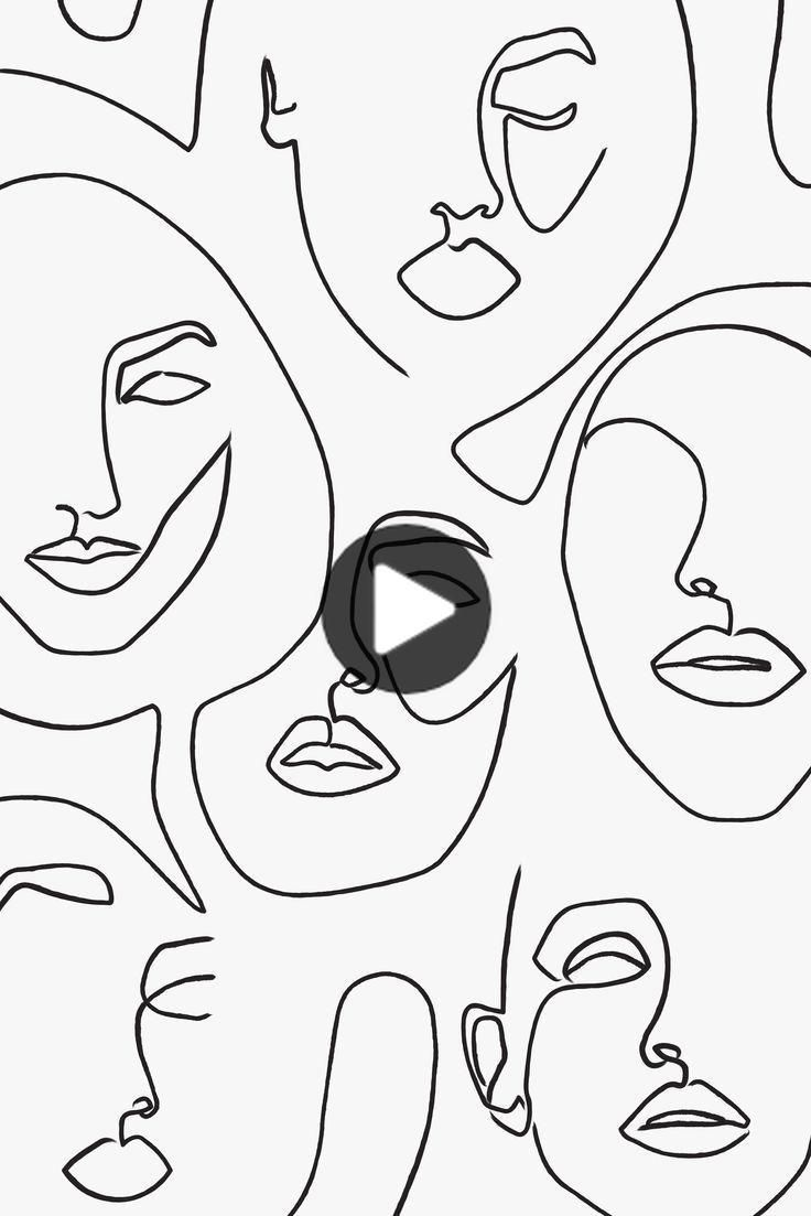 Abstract Faces Printed Lines Printing Line Art Poster Fashion Minimalist Faces Printed Linea De Arte Arte Abstracto Pintura Arte De Puesta De Sol
