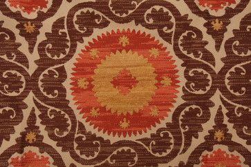Richloom Denholm Suzani Tapestry Upholstery Fabric, Cinnamon - mediterranean
