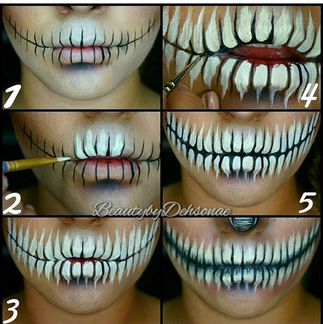 Halloween skull mouth makeup tutorial