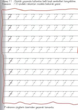 7 Rakamı Boyama Ile Ilgili Görsel Sonucu Okul öncesi Math