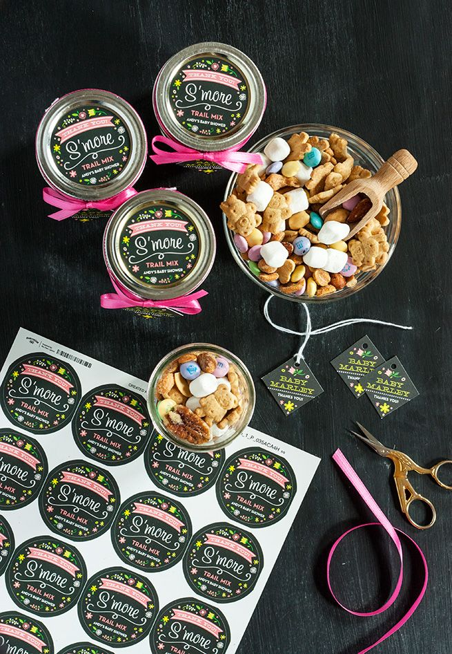 S'more Trail Mix Baby Shower Favors #gift #snack #recipe - Labels and Tags from Evermine {www.evermine.com}