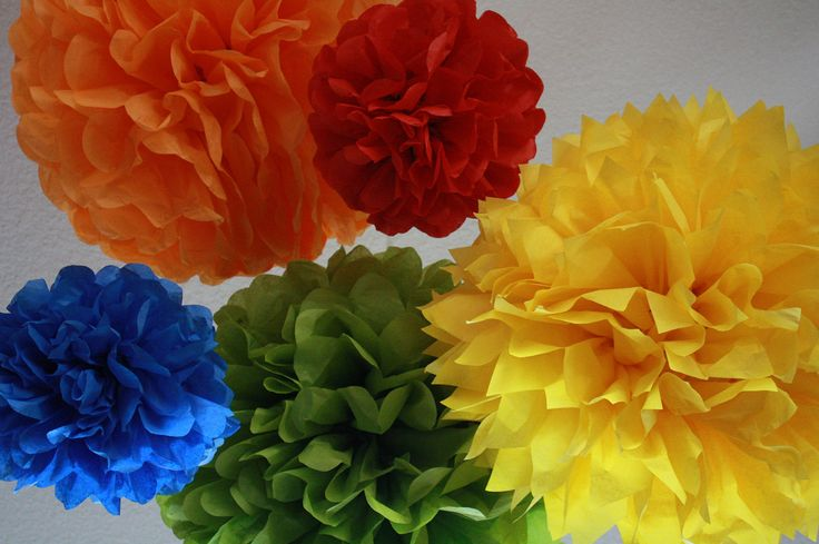 Pom Poms -Set of 12- Sesame Street, Lego, Primary Colors Party- birthday party tissue pom pom decorations. $35.00, via Etsy.
