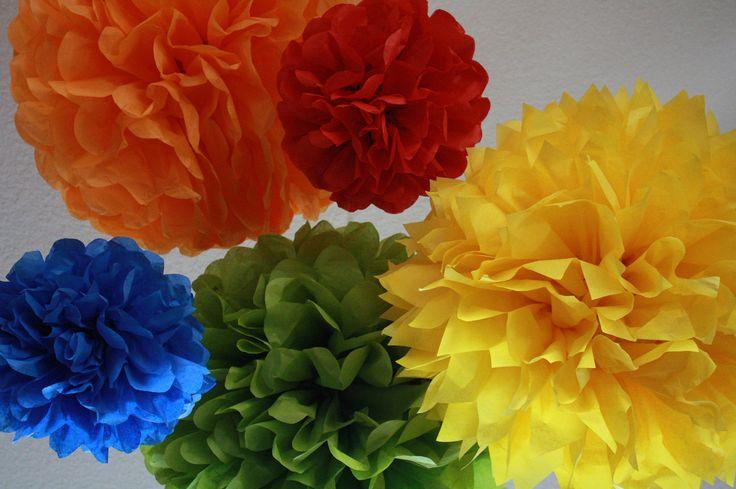 Pom Poms -Set of 5- Sesame Street, Lego, Primary Colors Party- birthday party tissue pom pom decorations. $20.00, via Etsy.