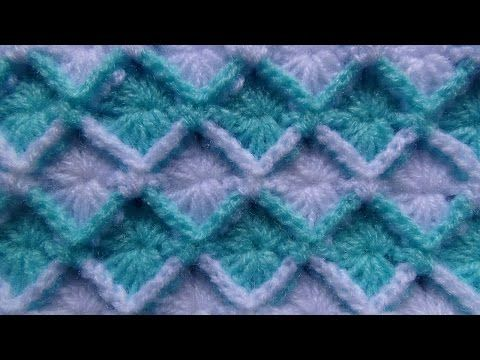 crochet: punto rombos en relieve - YouTube