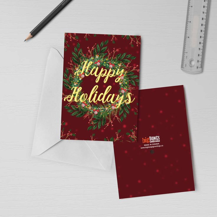 Holiday Cards With Recordable Sound Happy Holidays Greeting Card Christmas Greeting Card Christmas Wreath Card With Varnish Finish 00013 Happy Holidays Greetings Happy Holiday Greeting Cards Unique Christmas Cards