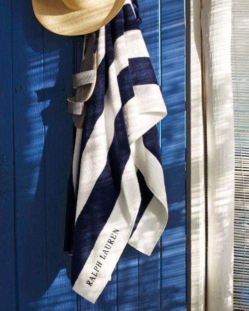 .: Ralph Lauren, Beaches Accessories, Beaches Time, Blue Wall, White, Beaches Houses, Stripes, Deep Blue, Beaches Towels