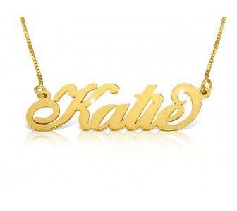 Katie Style Upgraded Quality 14k Gold Nameplate Necklace