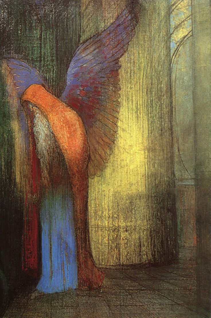 Redon - Winged Old Man with a Long White Beard, 1900 Pastel