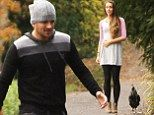 Peter Andre and pregnant girlfriend Emily MacDonagh chase a hen during filming for TV show