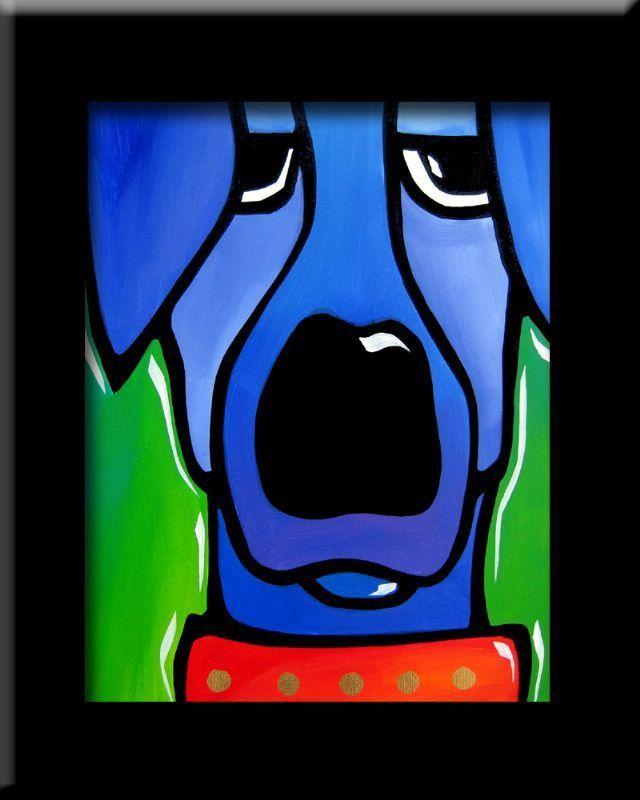 Original cartoon blue POP ART Abstract MODERN DOG print FIDOSTUDIO IGNORED