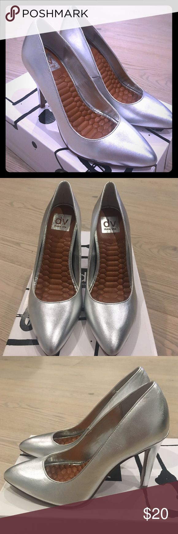 "Dolce Vita Silver Metallic Leather Size 7 Pumps Women's Dolce Vita Oaklee Silver Metallic Leather High Heel Pumps, NEW, Size 7. With box and original order form. Heel height: 4"" Dolce Vita Shoes Heels"