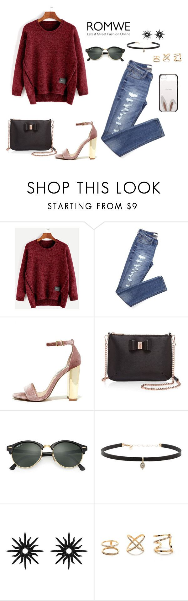 """""""Burgundy"""" by liily-95 on Polyvore featuring moda, Steve Madden, Ted Baker, Ray-Ban, Carbon & Hyde, Christina Debs y Kate Spade"""