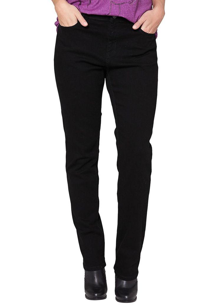 """Jeans Denim mit regelmäßig schwarzer Färbung. Klassische 5-Pocket-Form. Figurbetonte Passform """"Kurvig"""" mit leicht vertieftem Bund und geradem Bein für eine ausgeprägte Hüfte, einen runden Po und stärkere Oberschenkel. Denim aus angenehmem Baumwollstretch. Die Jeans passt sich dank des Elasthananteils perfekt ihrer Figur an und sorgt im zeitlosen Schwarz für einen souveränen Look..  Materialzusa..."""