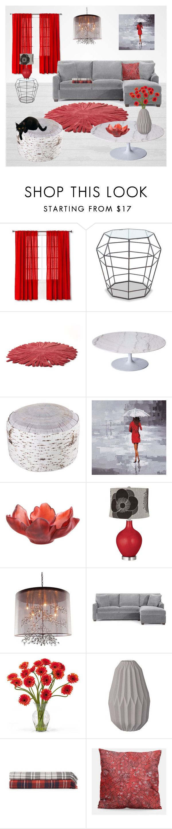 Grey & Red living room set by @savousepate on Polyvore