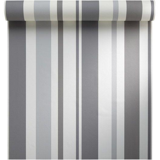 Papier peint vinyle sur intisse inspire rayure gris galet for Kitchen cabinets lowes with leroy merlin papiers peints