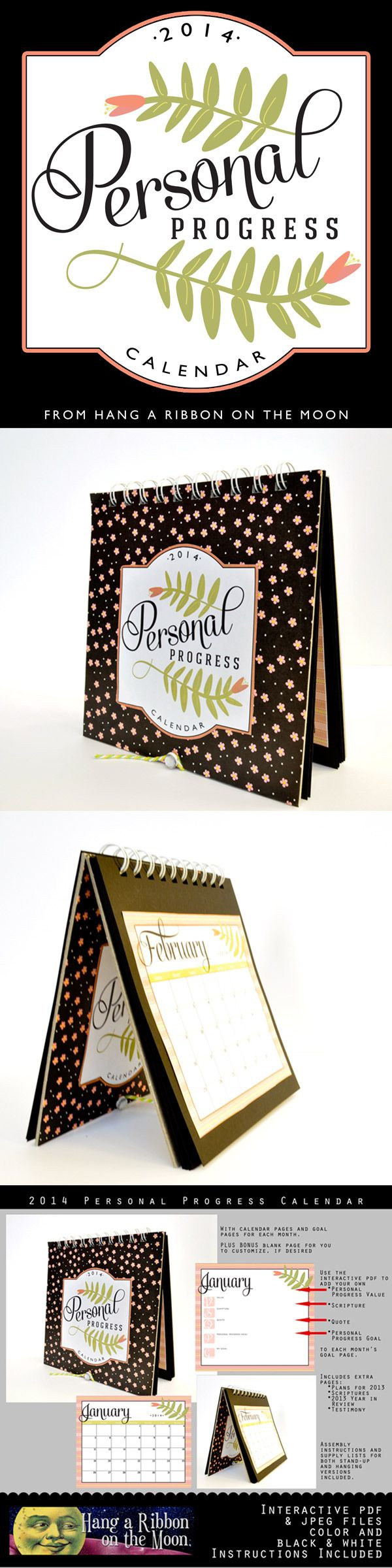 2014 Personal Progress Calendar. Great project for YW! FREE download from Hang a Ribbon on the Moon.- go to the end of the post- click on the word here in blue below the image!- zip file will auto download  & save the  zip file folder.