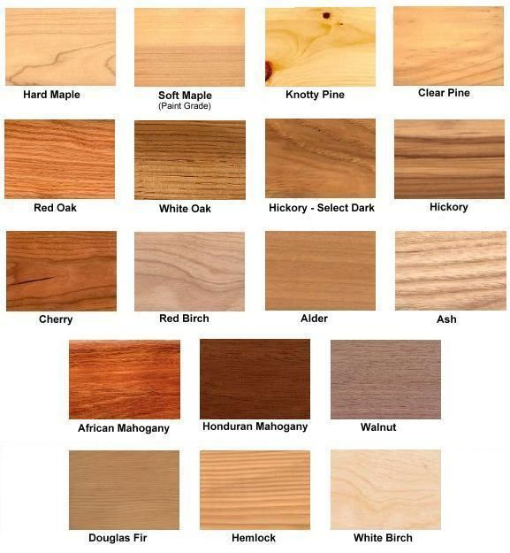 common wood types | Raw Wood Types (No stain added)